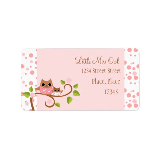 Pink Owls Mama and Baby Label