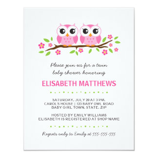Pink owls on floral branch twin girls baby shower 11 cm x 14 cm invitation card