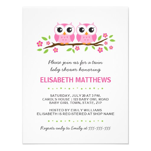 Pink owls on floral branch twin girls baby shower announcements