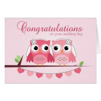 Pink Owls, Pink Hearts, Lesbian Wedding Congrats Card