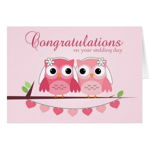 Pink Owls, Pink Hearts, Lesbian Wedding Congrats Greeting Card