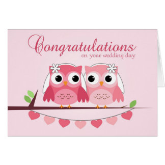 Pink Owls, Pink Hearts, Lesbian Wedding Congrats Greeting Card
