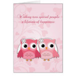 Pink Owls, Swirls and Hearts, Lesbian Wedding Greeting Card