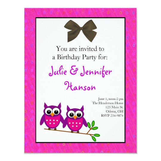 Pink Owls Twin Girls Birthday Invitation