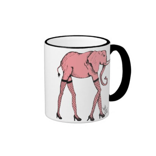 Pink Pachyderm in Stockings Coffee Tea Cup Mugs
