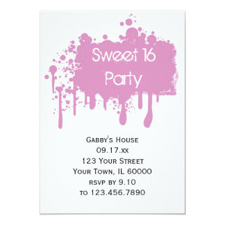 Pink Paint Sweet 16 Birthday Party Invitation