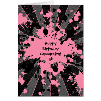 Pink paintball Happy Birthday Card
