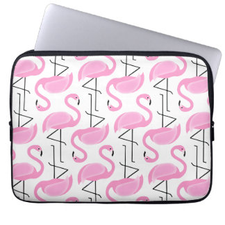 Pink Painted Flamingo Pattern Laptop Computer Sleeves