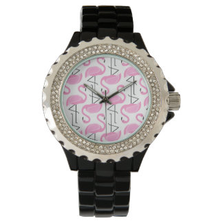 Pink Painted Flamingo Pattern Watches