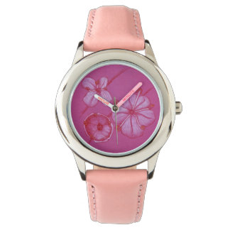 Pink Painted Flowers Watch