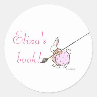 pink painter bunny bookplate round sticker