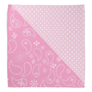 Pink Paisley and Polka Dots Bandana