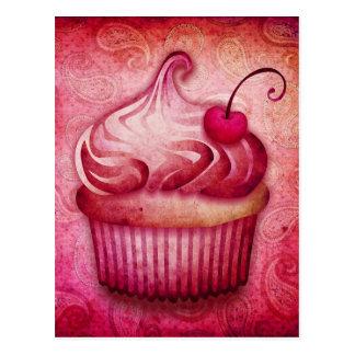 Pink Paisley Cupcake Post Cards