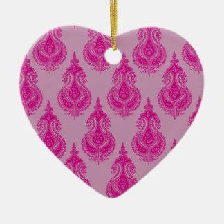 Pink paisley customizable name christmas ornaments