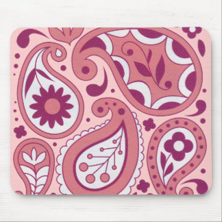 Pink Paisley Flower Mousepad