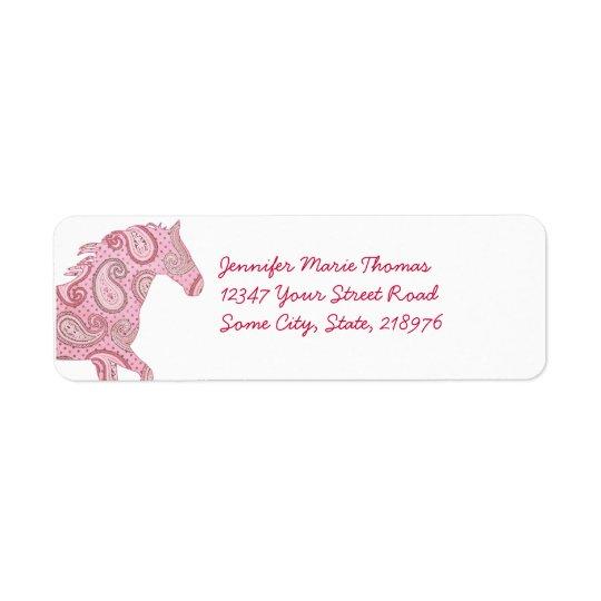 Pink Paisley Horse Return Address Label