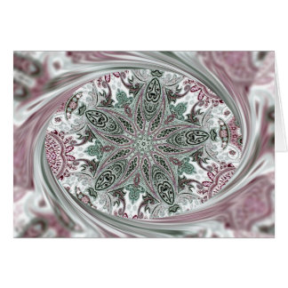 Pink Paisley Kaleidoscope for Christmas or Anytime Card
