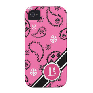 Pink Paisley Monogrammed Girly Case Vibe iPhone 4 Cases