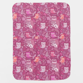 Pink paisley owls cute pattern baby blanket