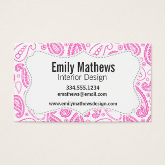 Pink Paisley Pattern Business Card