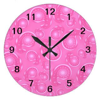 Pink Paisley Pattern Large Clock
