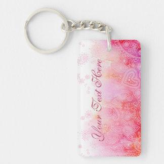 Pink Paisley Single-Sided Rectangular Acrylic Key Ring