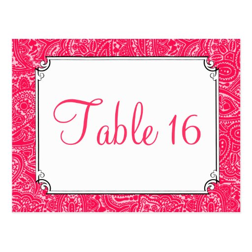 Pink Paisley Wedding Reception Table Numbers Post Cards