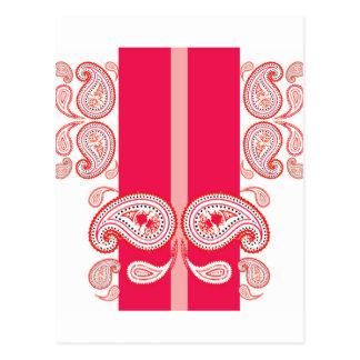Pink paisleys postcard