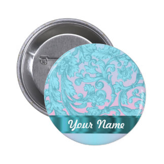 Pink & pale blue damask lace 6 cm round badge