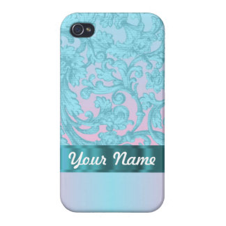 Pink & pale blue damask lace cases for iPhone 4