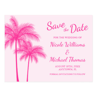 Pink Palm Tree Beach Wedding Save the Date Postcard