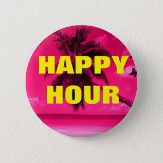 Pink Palm Tree HAPPY HOUR 6 Cm Round Badge