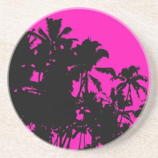 Pink palm tree Hawaii coasters
