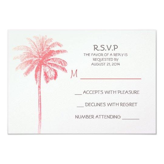 pink palm tree white beach wedding RSVP cards