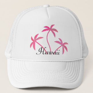 Pink Palm Trees Hawaii Trucker Hat