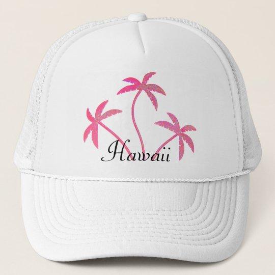 Pink Palm Trees Hawaii Trucker Hat