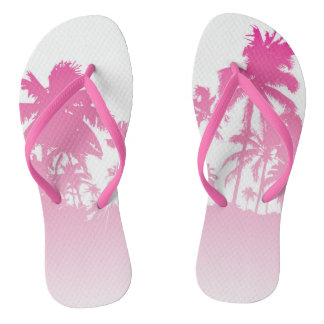 Pink Palms Flip Flops