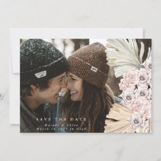 Pink Pampas Grass Floral Tropical Jungle Save The Date