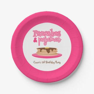 Pink Pancakes and Pyjamas Birthday Party Paper Plate