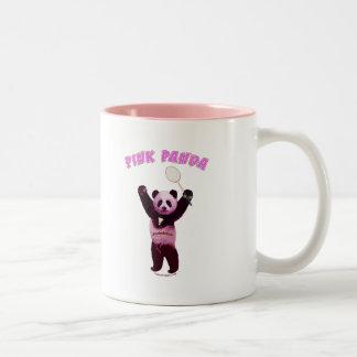 Pink Panda Badminton Two-Tone Mug