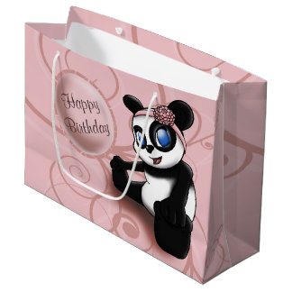 Pink Panda Floral Birthday Gift Bag- Large, Glossy Large Gift Bag