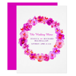 Pink pansy art flower wreath art wedding menu card
