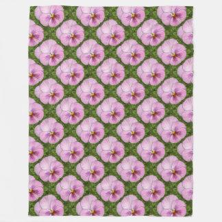 Pink Pansy Print Fleece Blanket