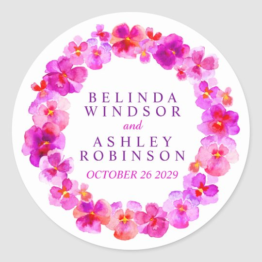 Pink pansy wreath custom watercolor art stickers