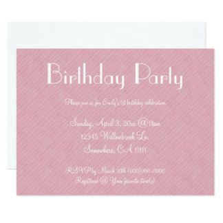 Pink Paper Birthday Party Card