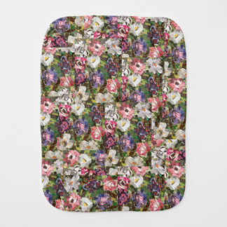 """Pink Paper Flower"" Collage Burp Cloth"