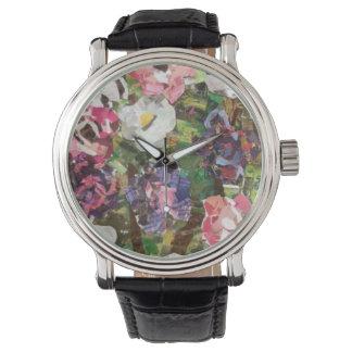 Pink Paper Flower Collage Watch