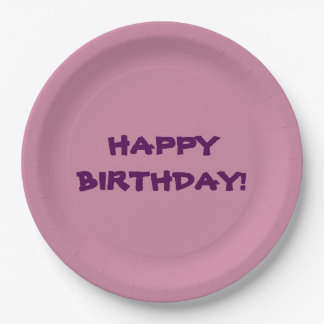 pink paper plate with happy birthday message