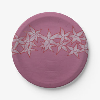 Pink Paper Plates with Painted White Flowers