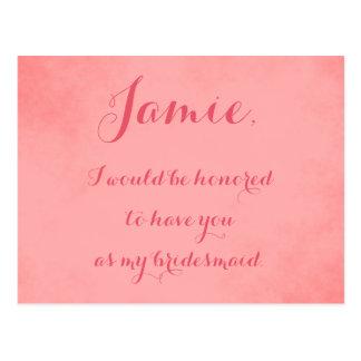 Pink Parchment bridesmaid invitation Postcard
